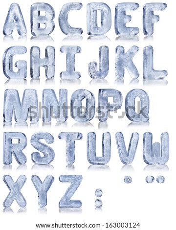 frozen water in the shape of the alphabet - stock photo