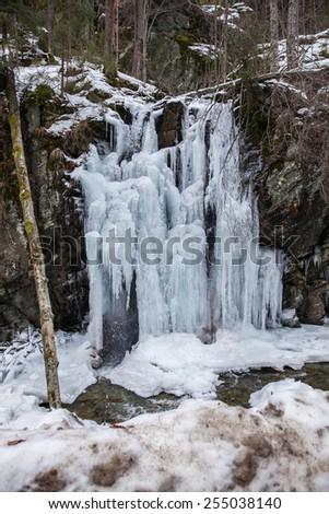 frozen waterfall - stock photo