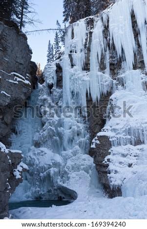Frozen Waterfalls in Canadian Rockies - stock photo