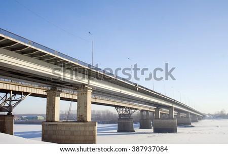 Frozen winter bridge - stock photo