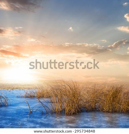 frozen winter lake scene - stock photo
