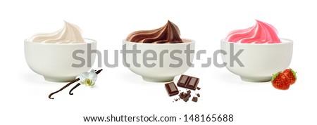 Frozen yogurt in bowl on white background - stock photo