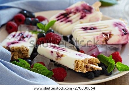 Frozen yogurt popsicles with oats and blueberry jam - stock photo