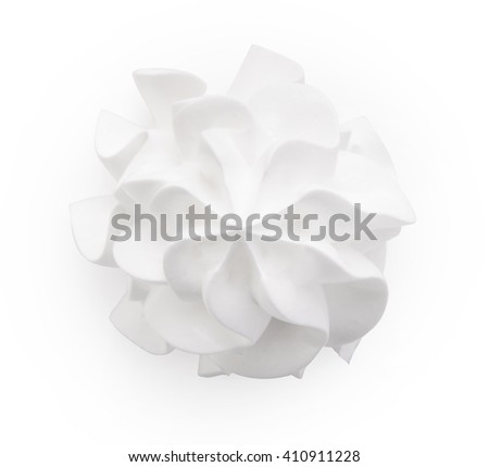 Frozen yogurt. Whipped cream isolated on a black background with clipping path. Top view. - stock photo