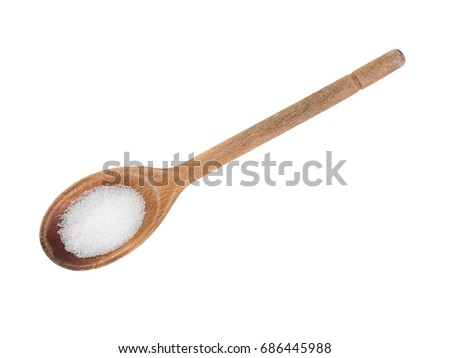 Fructose crystals, sweet alternative to sugar sweetener. On wooden spoon isolated on white. Aka Ketonic monosaccharide.