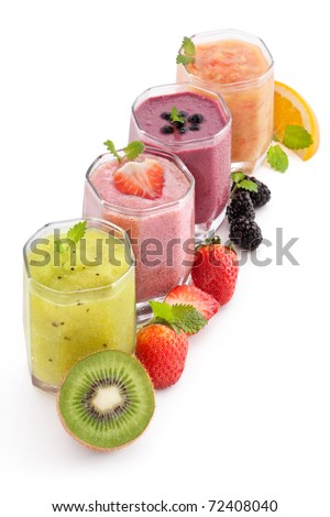 fruit and berry healthy  smoothie - stock photo