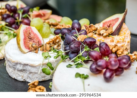 fruit and cheese - stock photo