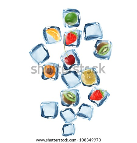 Fruit and ice cube Dollar symbol over white background - stock photo