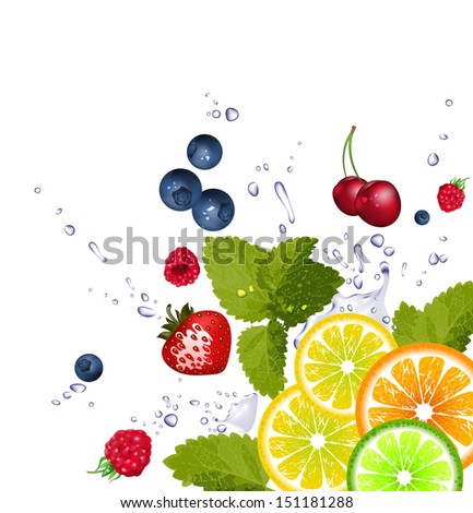 fruit and splash of water. Raster version of vector illustration
