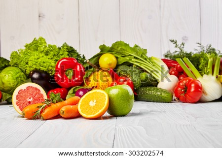 Fruit and vegetable borders  - stock photo