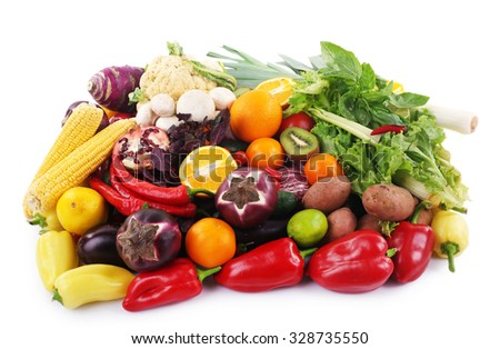 Fruit and vegetable collection on white background
