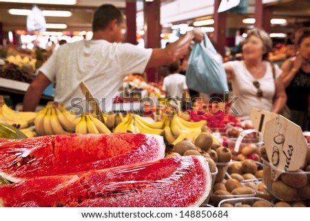Fruit and vegetable market. Retail. - stock photo