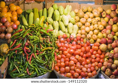 fruit and vegetable market, Thimphu (capital city), Bhutan, Asia