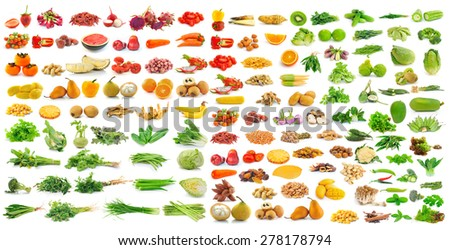 fruit and vegetable on white background - stock photo