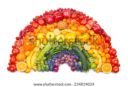 fruit and vegetable rainbow - stock photo
