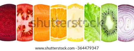 Fruit and vegetable slices. Healthy food concept