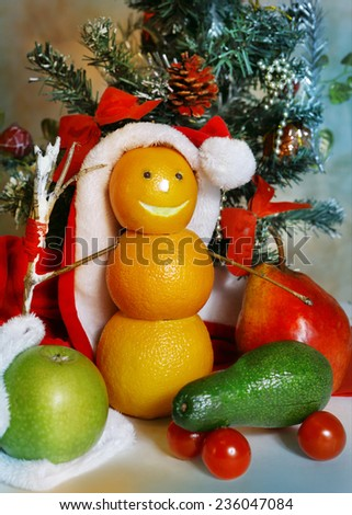 fruit and vegetables christmas decoration as a symbol of healthy food for new year holiday banquet - stock photo