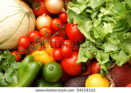 Fruit and vegetables from the market - stock photo