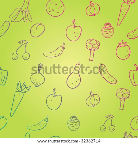 Fruit and vegetables. Healthy seamless pattern