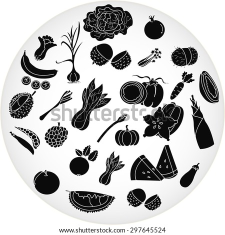 Fruit and Vegetables icon set.