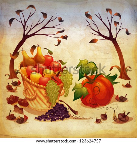 Fruit and vegetables in Autumn. Raster illustration