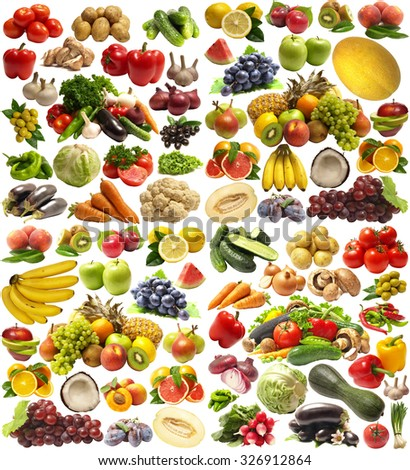 Fruit and vegetables isolated - stock photo
