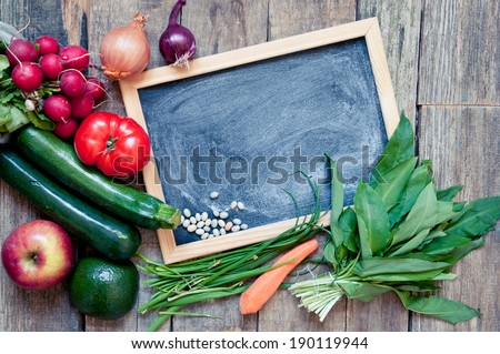 fruit and vegetables on a wooden table