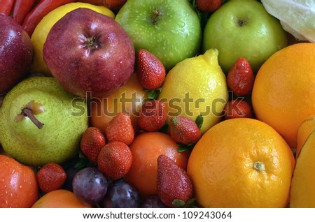 Fruit and vegetables . Various natural fruit and vegetables picture taken under warm morning light. Great image for healthy and natural food or background for  fruit and vegetables product.