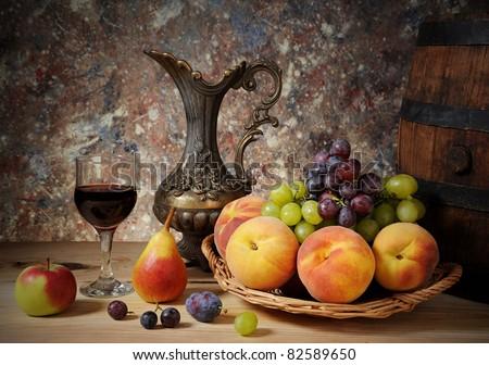 Fruit and Wine - stock photo