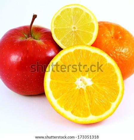 fruit  apple, orange, lemon and tangerine on pure white background - stock photo