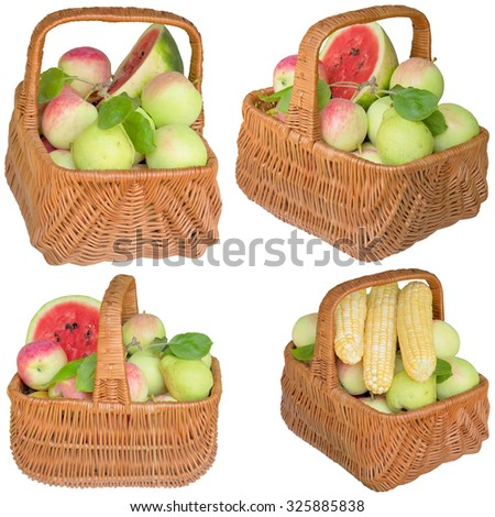 Fruit, apples, basket,  healthy, apple, plums, grapes, is fresher, corn.