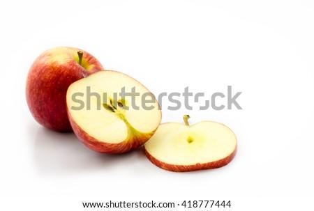 Fruit apples slice on white background - stock photo