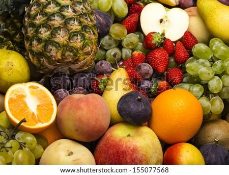 fruit background of fresh exotic fruits - stock photo