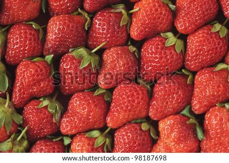 Fruit Background of ripe strawberry - stock photo