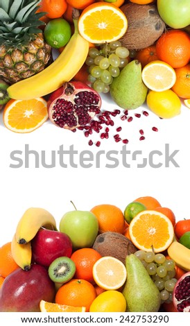 Fruit background up and down - stock photo