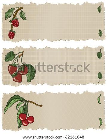 Fruit Banners RSC - Raster Version - stock photo