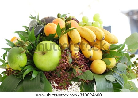 Fruit basket close-up - stock photo