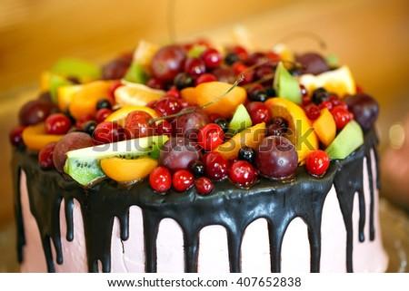 Fruit cake. - stock photo