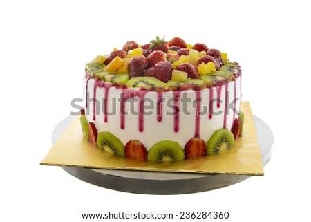 Fruit cakes isolated on white background - stock photo