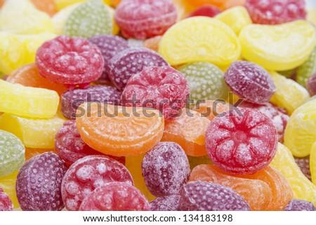 fruit candies close up - stock photo