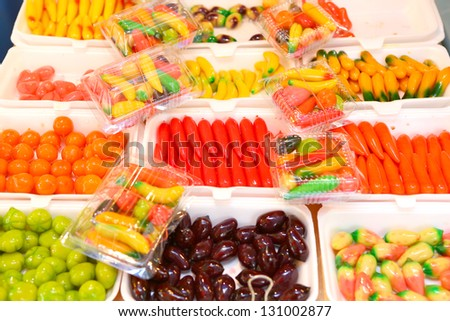 fruit candy in thai style at thailand market, Street food