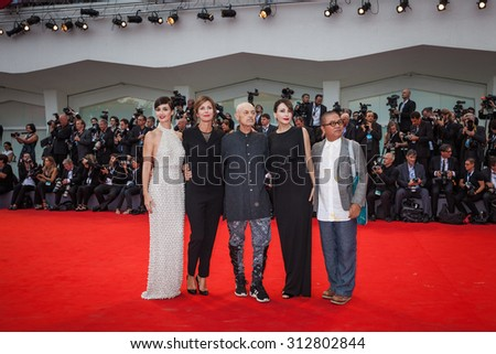 Fruit Chan, Anita Caprioli Jonathan Demme, Alix Delaporte and Paz Vega attend the opening ceremony and premiere of 'Everest' during the 72nd Venice Film Festival on September 2, 2015 in Venice, Italy.