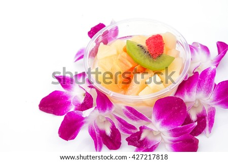 Fruit cocktail, isolated on white - stock photo