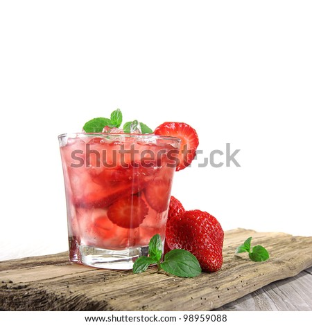 Fruit cocktail over wood background - stock photo