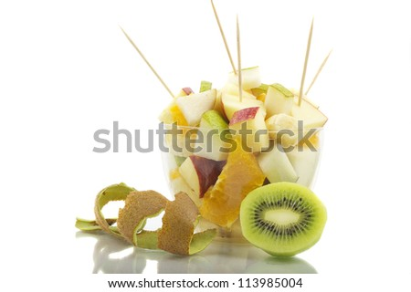 Fruit Cocktail With Toothpick - stock photo