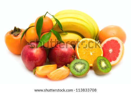 fruit collection isolated on white background - stock photo