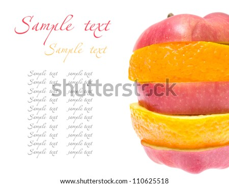 Fruit composed apple and orange.