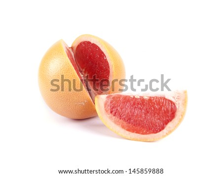 Fruit composition of ripe grapefruit on a white background - stock photo