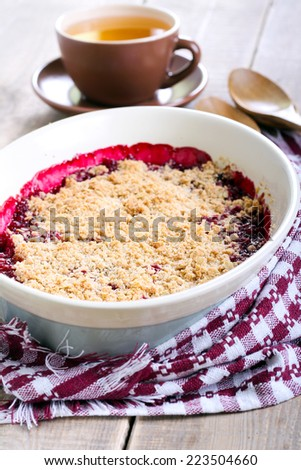 Fruit crumble cake, selective focus - stock photo