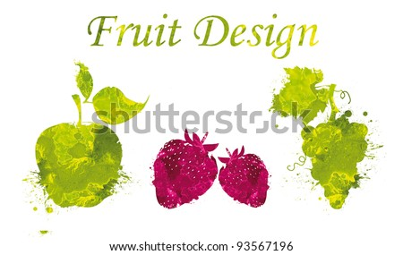 Fruit design. Apple,strawberries and grapes hand drawn isolated on white background/